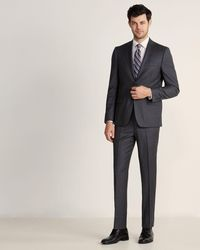 DKNY Two-piece Brown Milled Charcoal Stripe Wool Suit