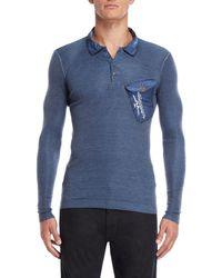 Armani Jeans - Blue Long Sleeve Polo - Lyst