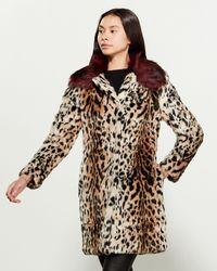 Love Token Astrid Faux Fur Coat - Brown