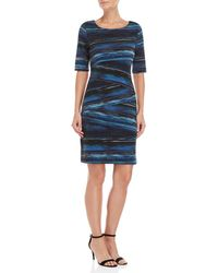 Connected Apparel - Printed Asymmetrical Tiered Sheath Dress - Lyst