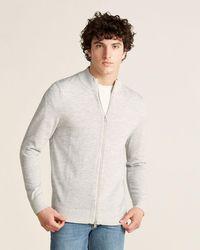 Patrick Assaraf Zip-up Long Sleeve Sweater - Gray