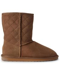 EMU Chestnut Stinger Lo Quilted Shearling-lined Suede Boots - Brown