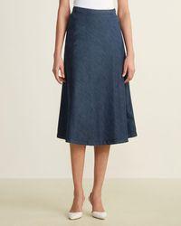 Le Mont St Michel Denim A-line Skirt - Blue