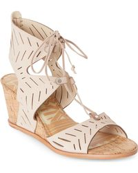 Dolce Vita - Taupe Langly Cutwork Wedge Sandals - Lyst