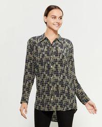 Equipment Silk Geometric Printed Shirt - Green