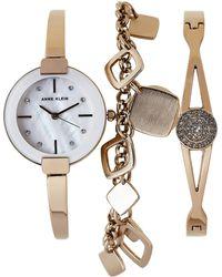 Anne Klein - Ak3264 Gold-tone Watch & Bracelet Set - Lyst