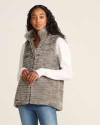 Love Real Fur & Quilted Reversible Vest - Metallic