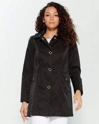 Anne Klein Snap Front Hooded Raincoat - Black