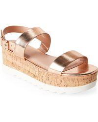 Madden Girl - Rose Gold Suga Flatform Slingback Sandals - Lyst