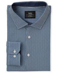 W.r.k. Blue Dotted Stripe Stretch Dress Shirt