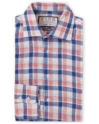 Thomas Pink Turftnell Check Slim Fit Dress Shirt - Blue