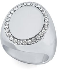 Vince Camuto - Silver-tone Pave Oval Ring - Lyst