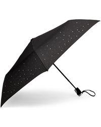 Bebe Black Rhinestone Embellished Logo Umbrella