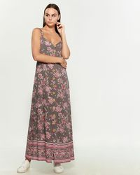 Angie - Dove Printed Button Front Maxi Dress - Lyst
