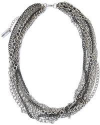 Steve Madden - Silver-tone & Hematite-tone Multi Chain Necklace - Lyst