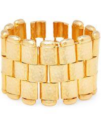 Kenneth Jay Lane - Satin Gold-tone Hammered Bracelet - Lyst