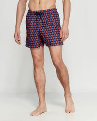 015348e8a08be Jared Lang Tonal Plaid Swim Shorts in Blue for Men - Lyst