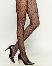 Steve Madden Two-pack Leopard Openwork & Solid Tights - Black