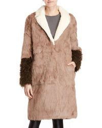Add - Real Rabbit Fur Color Block Coat - Lyst