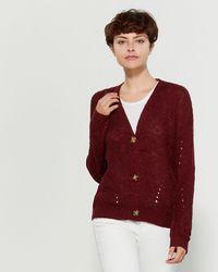 Pink Rose - Slub Knit Long Sleeve Cardigan - Lyst