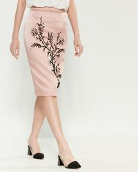 Les Copains Blush Bead Embellished Pencil Skirt - Pink