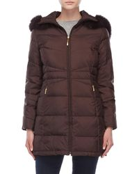 Ellen Tracy - Petite Hooded Down Coat With Real Fur Trim - Lyst