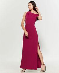 Parker One-shoulder High Slit Gown - Purple