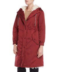 Ottod'Ame - Wine Sherpa Trim Hooded Coat - Lyst