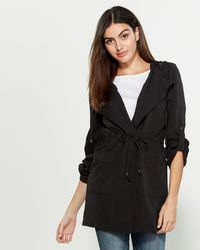 Love Tree Oversized Hooded Trench - Black