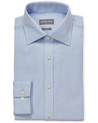 Michael Kors - Empire Blue Herringbone Slim Fit Dress Shirt - Lyst