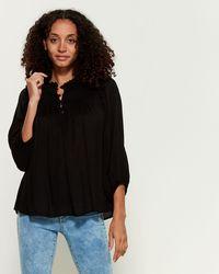 Jessica Simpson Ruffled Peasant Blouse - Black