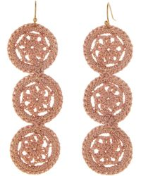 pannee by panacea Beige Crochet Circle Linear Earrings - Multicolor
