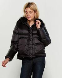 Add Black Real Fur Collar Down Coat