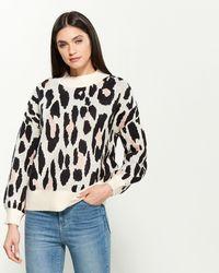 Cliche Mock Neck Leopard Print Sweater - Multicolor