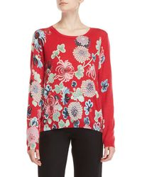 Leonard - Red Printed Cashmere Sweater - Lyst