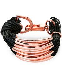 Saachi - Black & Rose Gold-Tone C String Bracelet - Lyst