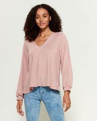 Jessica Simpson Flowy V-neck Top - Pink