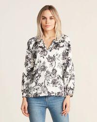 Sioni White & Black Long Sleeve Floral Print Blouse