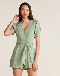 Lush Sage Linen Tie Front Romper - Green