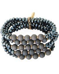 Natasha Couture Black Multi-strand Stretch Beaded Bracelet
