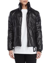 Bikkembergs - Black Quilted Leather Down Jacket - Lyst