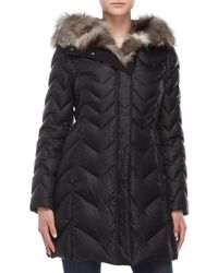 Dawn Levy - Real Fur Trim Chevron Quilted Coat - Lyst