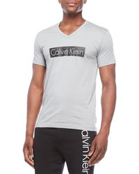 CALVIN KLEIN 205W39NYC - V-neck Logo Block Tee - Lyst