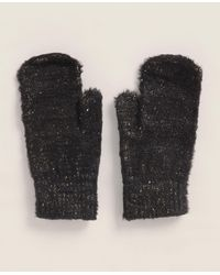Betsey Johnson Fuzzy Luxe Mittens - Black