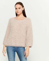 Pol Popcorn Knit Long Sleeve Crew Neck Sweater - Purple