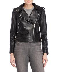 Walter Baker - Leather Cropped Moto Jacket - Lyst