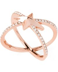 Michael Kors - Rose Gold-tone Starburst Pave X Ring - Lyst