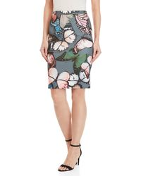 GAUDI Butterfly Print Knit Pencil Skirt - Multicolor