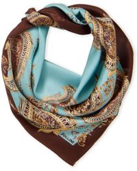 Pollini Paisley Printed Silk Scarf - Brown