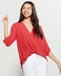 Lush Draped Crossover Blouse - Red